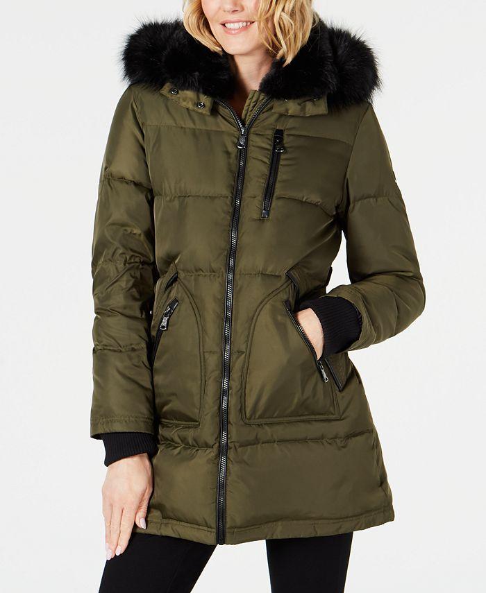 Vince Camuto - Faux-Fur-Trim Puffer Coat