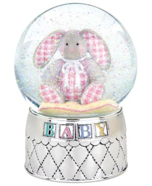 Reed & Barton Snow Globe, Gingham Bunny Musical