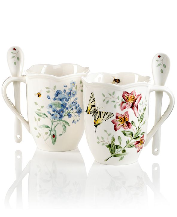 Lenox Butterfly Meadow Set of 2 Cocoa Mugs with Spoons