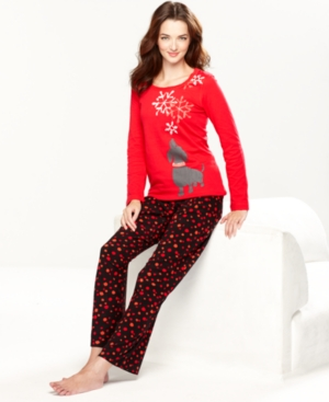 HUE Pajamas, Doggie Snowday Top and Pajama Pants Set