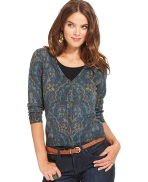 Lucky Brand Jeans Sweater, Three-Quarter V-Neck Printed Cardigan