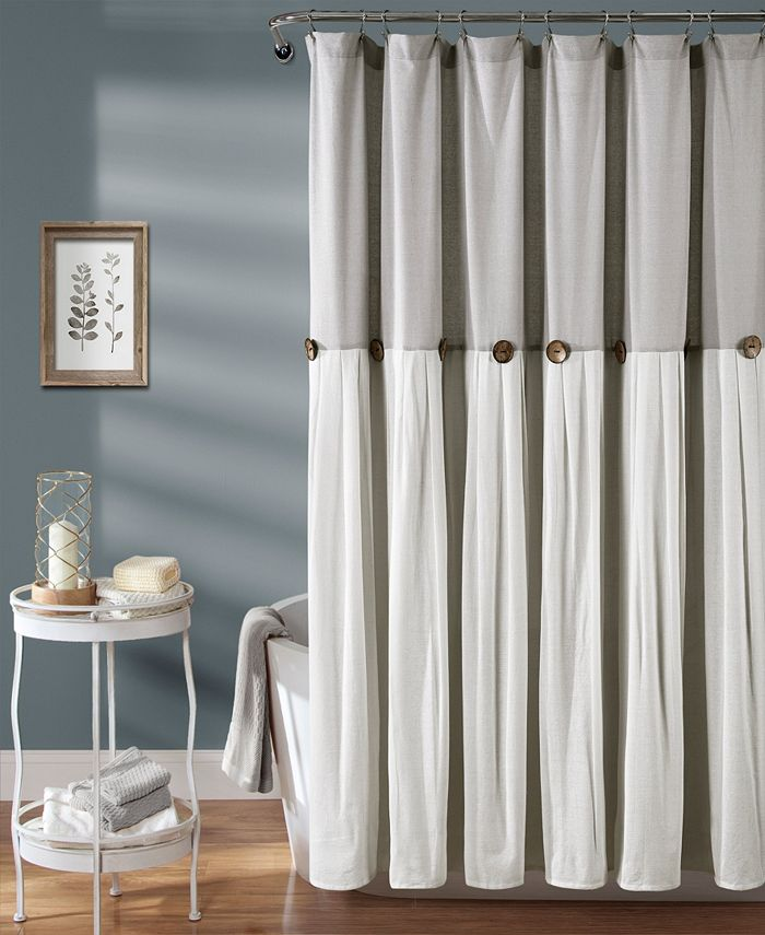 "Lush Décor - Linen Button 72"" x 72"" Shower Curtain"