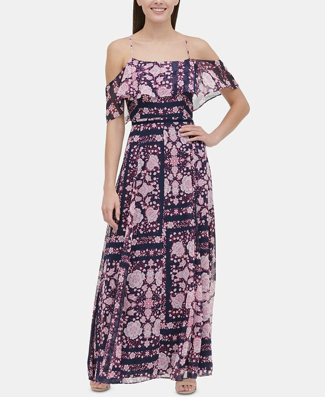 Tommy Hilfiger Printed Cold-Shoulder Maxi Dress