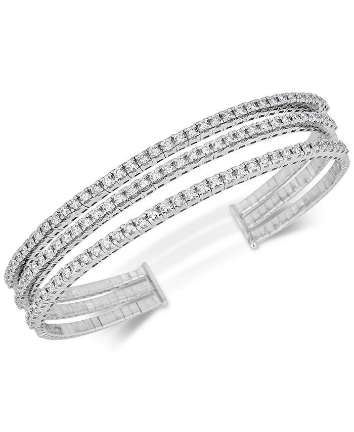Macy's - Diamond Triple-Band Bangle Bracelet (2-3/8 ct. t.w.) in 14k White Gold