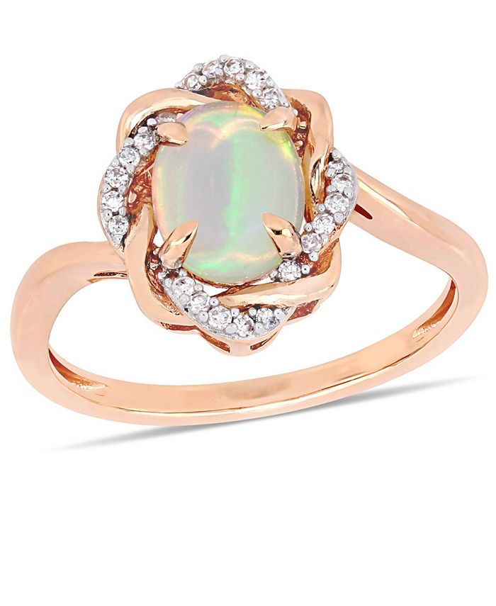 Delmar - Blue Opal (3/4 ct.t.w.) and Diamond (1/10 ct.t.w.) Interlaced Halo Ring 10k Rose Gold