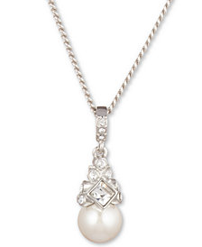 """Givenchy 16"""" + 3"""" Extender Silver-Tone Crystal and Glass Pearl Pendant Necklace"""