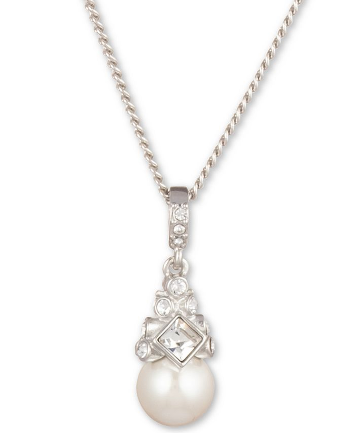 Givenchy - Silver-Tone Crystal and Glass Pearl Pendant Necklace