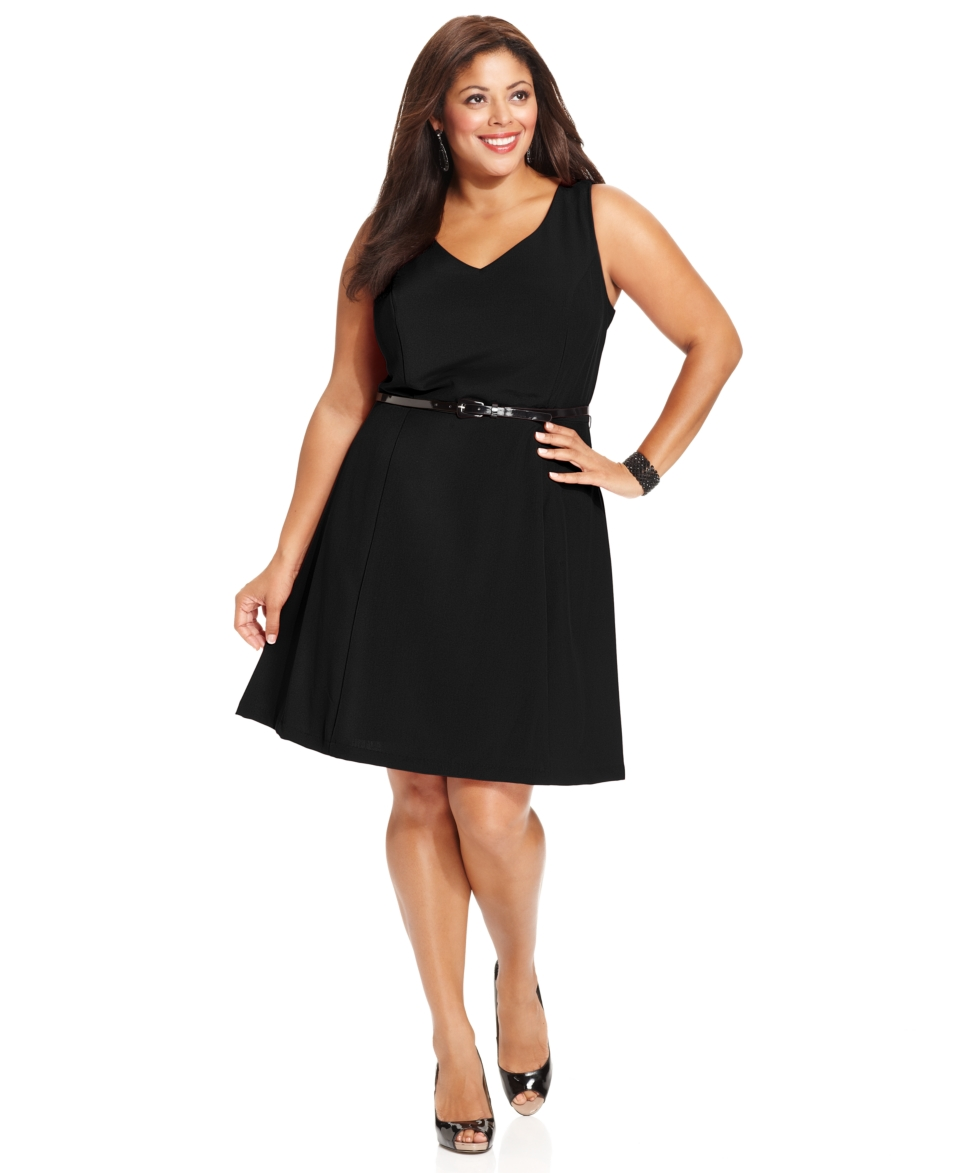 AGB Plus Size Dress, Sleeveless Belted A Line