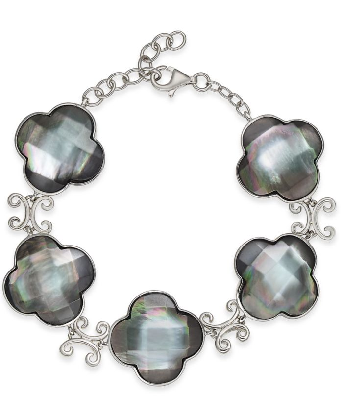 Macy's Mother-of-Pearl Clover Link Bracelet in Sterling Silver & Reviews - Bracelets - Jewelry & Watches - Macy's