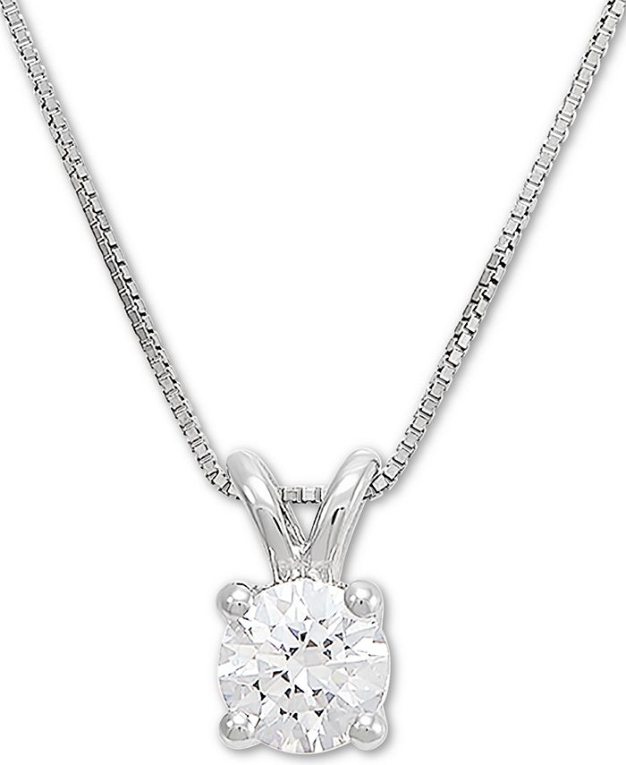 """Grown With Love - Lab Grown Diamond Solitaire 18"""" Pendant Necklace (1/2 ct. t.w.) in 14k White Gold"""