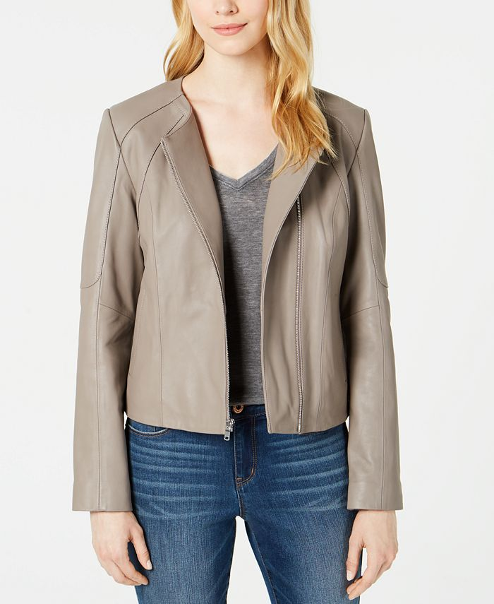 Cole Haan - Asymmetrical Leather Moto Jacket