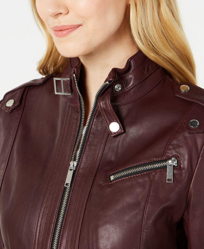 Marc New York Front-Zip Leather Moto Jacket & Reviews - Coats - Women - Macy's
