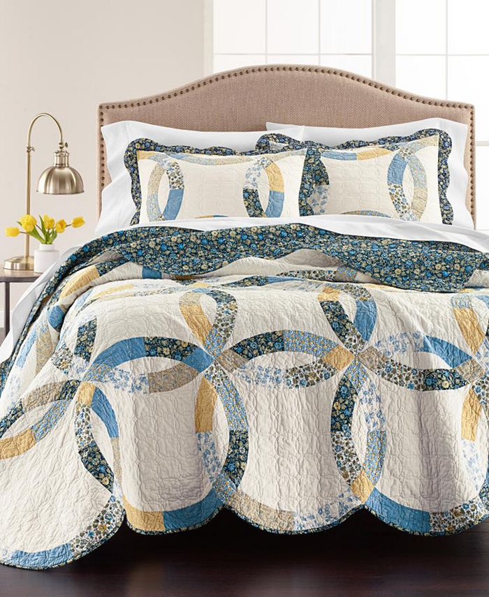Martha Stewart Collection - Wedding Rings Blue Quilt and Sham Collection, Created for Macy's
