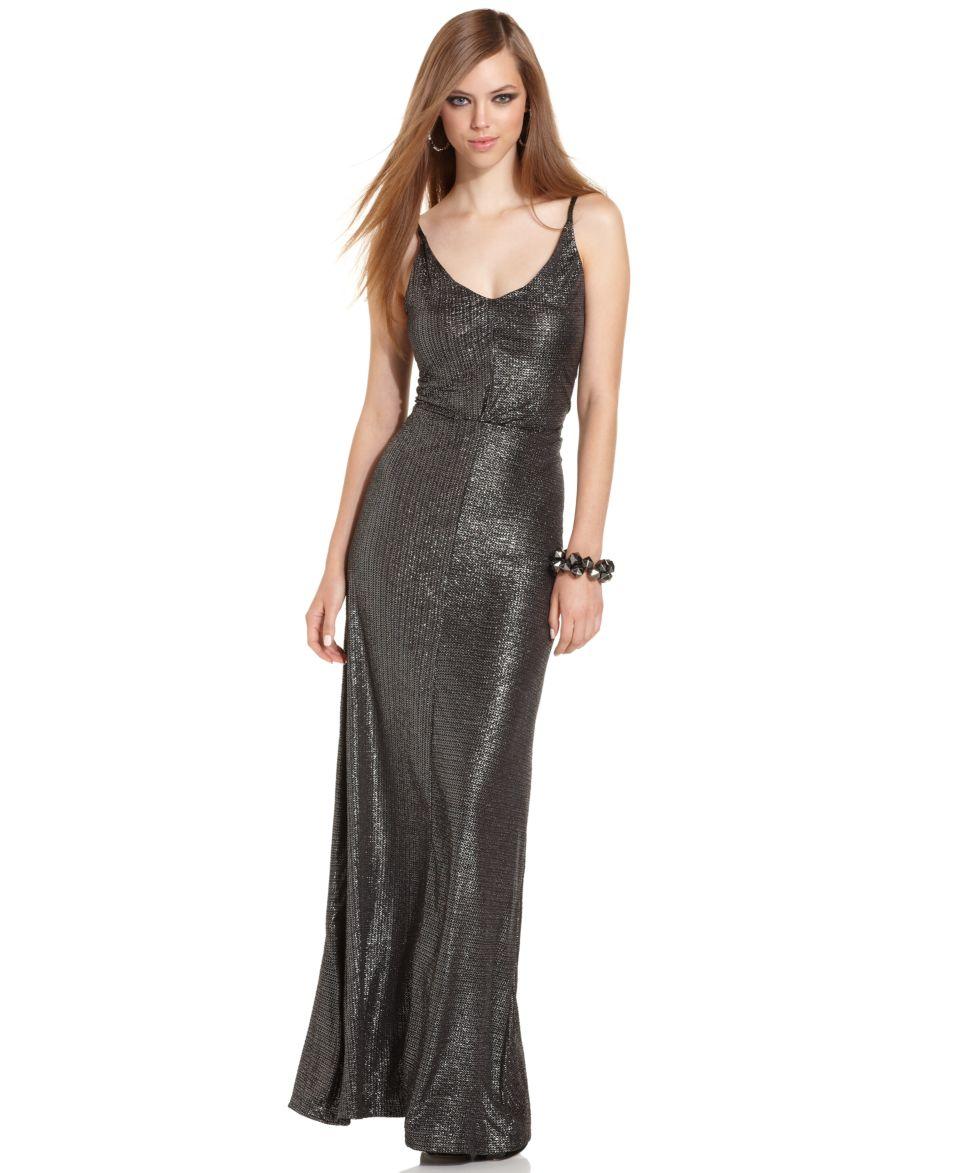 BCBGeneration Dress, Sleeveless Scoop Neck Metallic Maxi