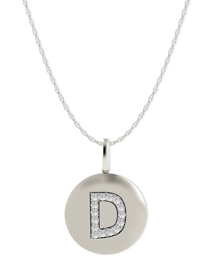 Macy's - 14k White Gold Necklace, Diamond Accent Letter D Disk Pendant