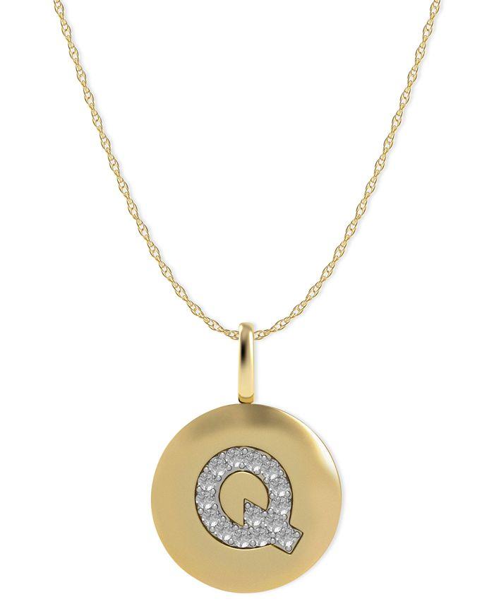 Macy's - 14k Gold Necklace, Diamond Accent Letter Q Disk Pendant