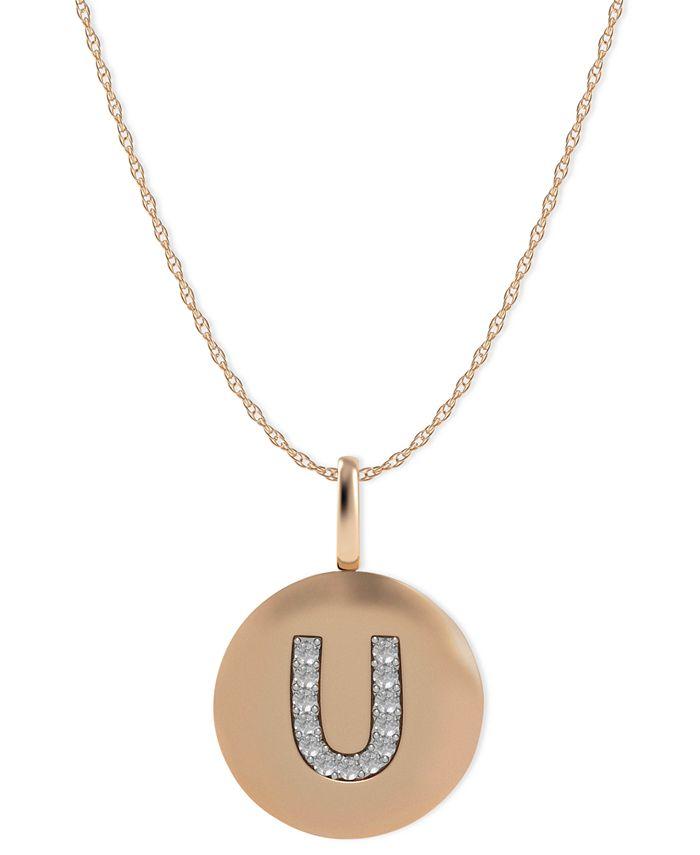 Macy's - 14k Rose Gold Necklace, Diamond Accent Letter U Disk Pendant
