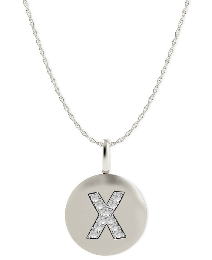 Macy's - 14k White Gold Necklace, Diamond Accent Letter X Disk Pendant