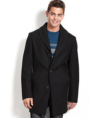 Bar III Coat, Shawl Collar Slim Fit Overcoat