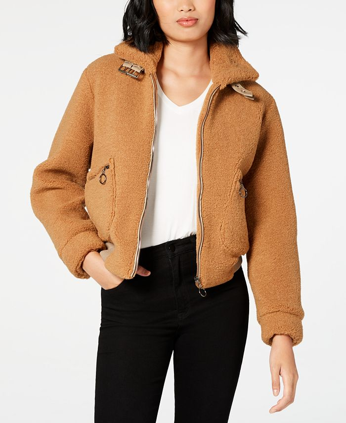 Collection B - Juniors' Faux-Fur Teddy Bomber Jacket