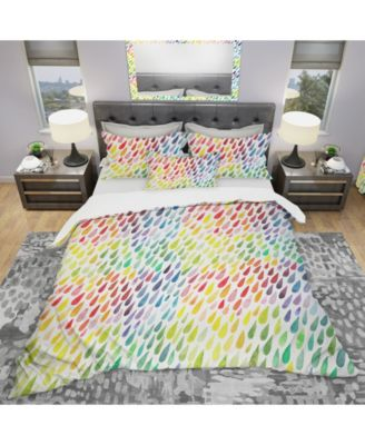 Designart 'Collection Of Paint Splash Watercolor Drops' Modern and Contemporary Duvet Cover Set - King