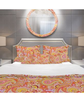 Designart 'Pattern Based on Traditional Asian Elements ' Mid-Century Modern Duvet Cover Set - King
