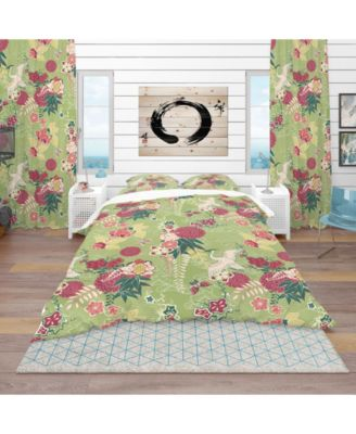 Designart 'Oriental Silk Pattern' Asian Duvet Cover Set - Twin
