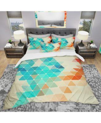 Designart 'Abstract Colorful Geometric Pattern' Modern Duvet Cover Set - King