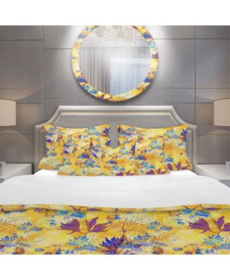 Designart 'Imprints Flowers And Herb Pattern' Modern and Contemporary Duvet Cover Set - Queen