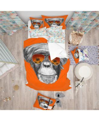Designart 'Monkey With Mirror Sunglasses' Tropical Duvet Cover Set - Twin