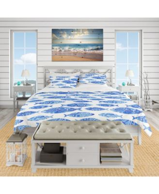 Designart 'Pattern With Fishes' Nautical and Coastal Duvet Cover Set - Queen