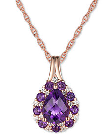 "Blue Topaz (1-1/4 ct.t .w.) & Diamond (1/10 ct. t.w.) 18"" Pendant Necklace in 14k Gold (Also in Amethyst)"