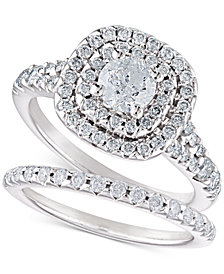 Diamond Halo Bridal Set (1-1/2 ct. t.w.) in 14k White Gold