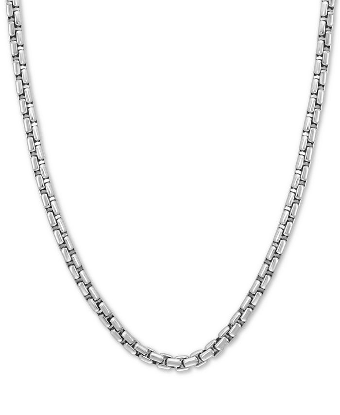 "EFFY Collection - Rounded Box Link 24"" Chain Necklace in Sterling Silver"