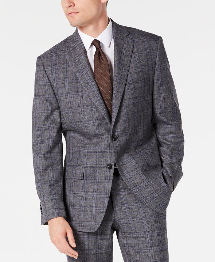 Michael Kors - Men's Classic-Fit Airsoft Stretch Gray/Blue Plaid Suit Jacket