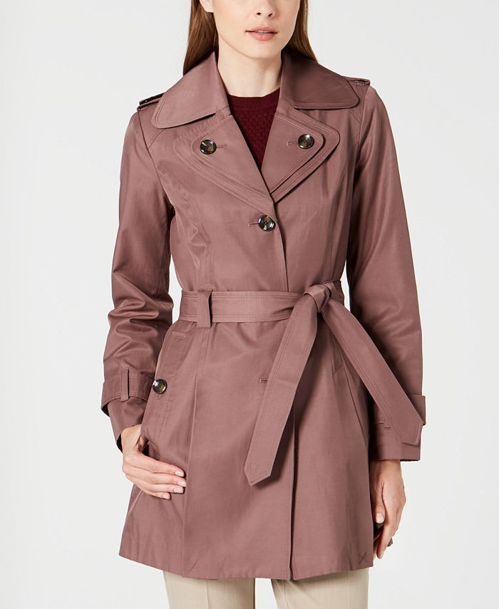 London Fog - Petite Belted Hooded Trench Coat