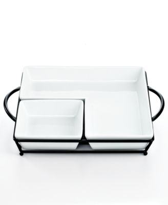 The Cellar Whiteware 3 Piece Square Chip and Dip Server