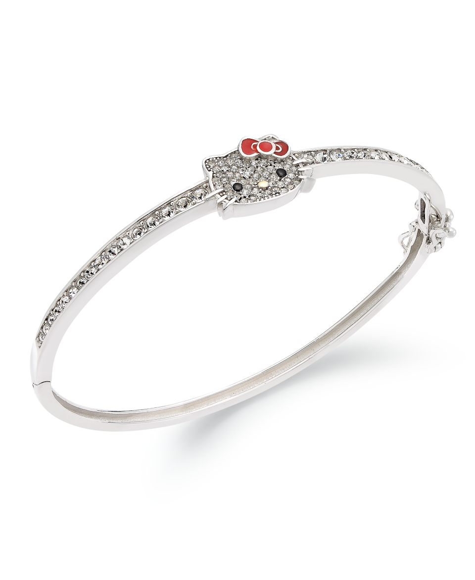 Hello Kitty Sterling Silver Bracelet, Pave Crystal Face Bangle Bracelet   Bracelets   Jewelry & Watches