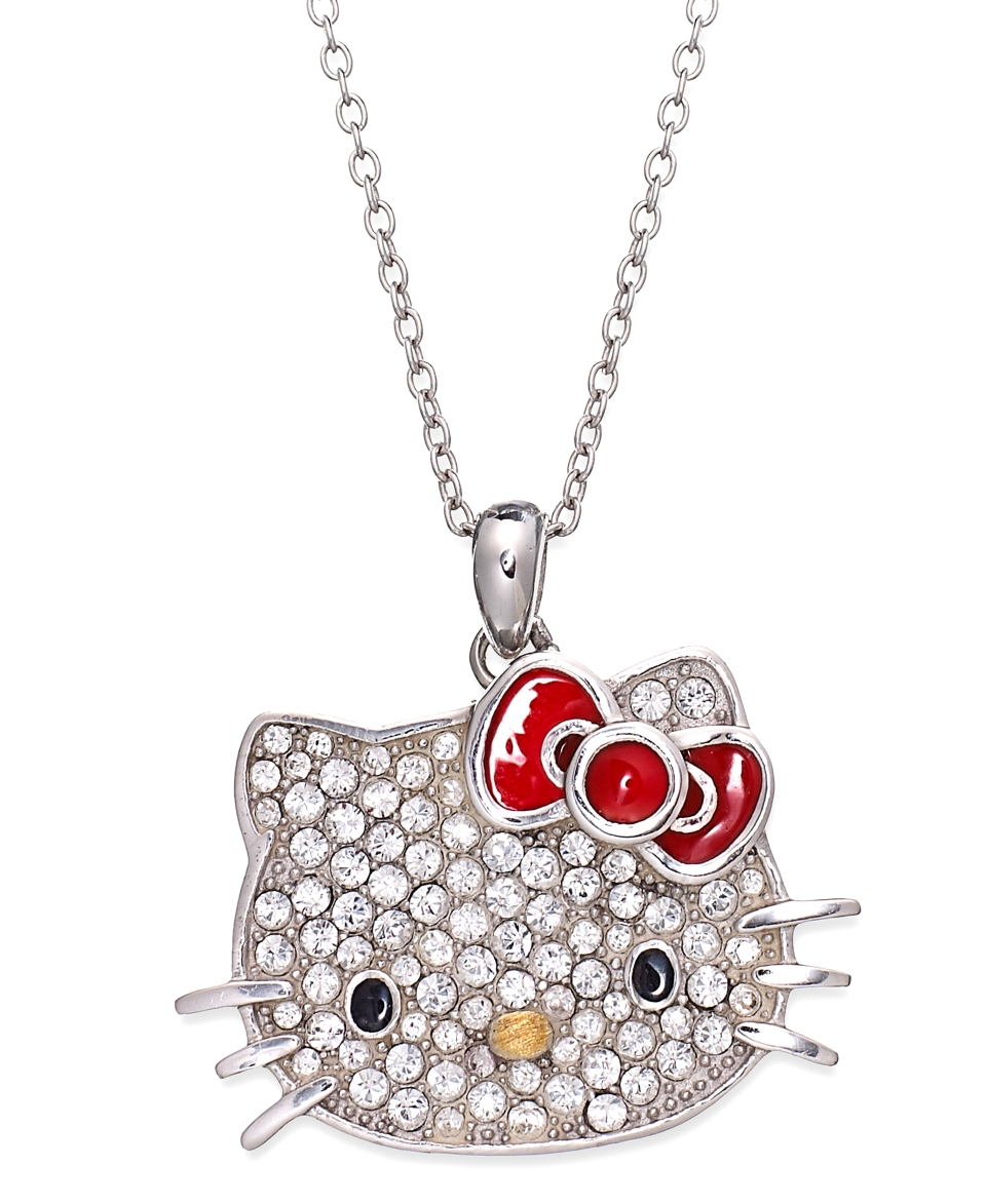 Hello Kitty Sterling Silver Necklace, Large Pave Crystal Face Pendant   Necklaces   Jewelry & Watches