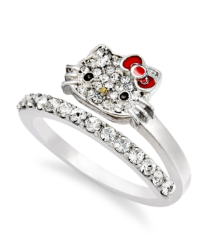 35cd7d063 UPC 700825659475 product image for Hello Kitty Sterling Silver Ring, Pave  Crystal Face Bypass Ring ...