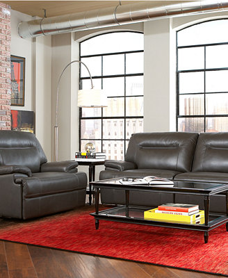 Damon Leather Sofa Living Room Furniture Collection, Power