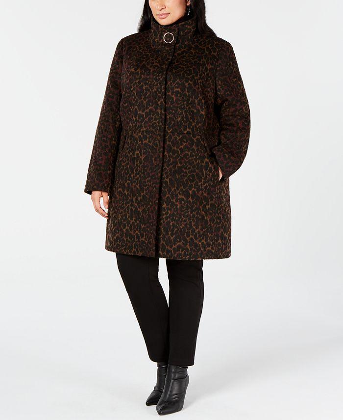 Via Spiga - Plus Size Leopard-Print Coat