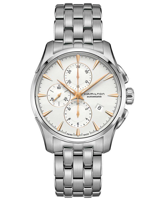 Hamilton - Men's Swiss Automatic Chronograph Jazzmaster Stainless Steel Bracelet Watch 42mm