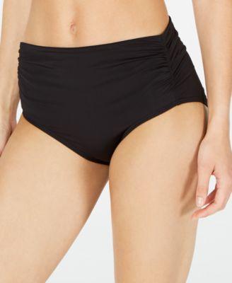 Ruched High-Waist Bikini Bottoms