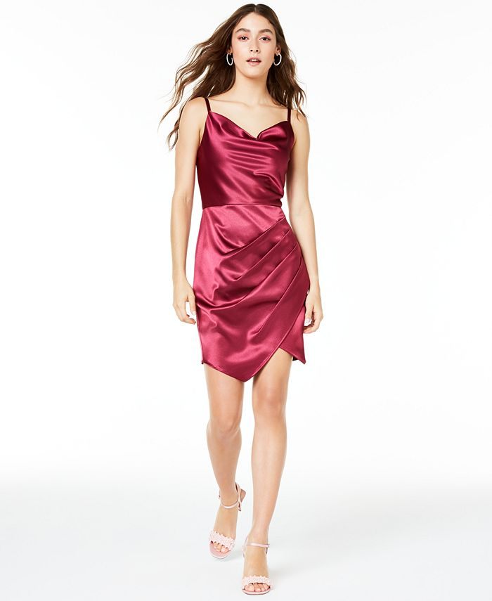 BCX - Juniors' Stretch Satin Draped Dress