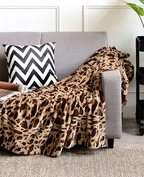 "Cheer Collection Animal Print 60"" x 70"" Reversible Throw Blanket"