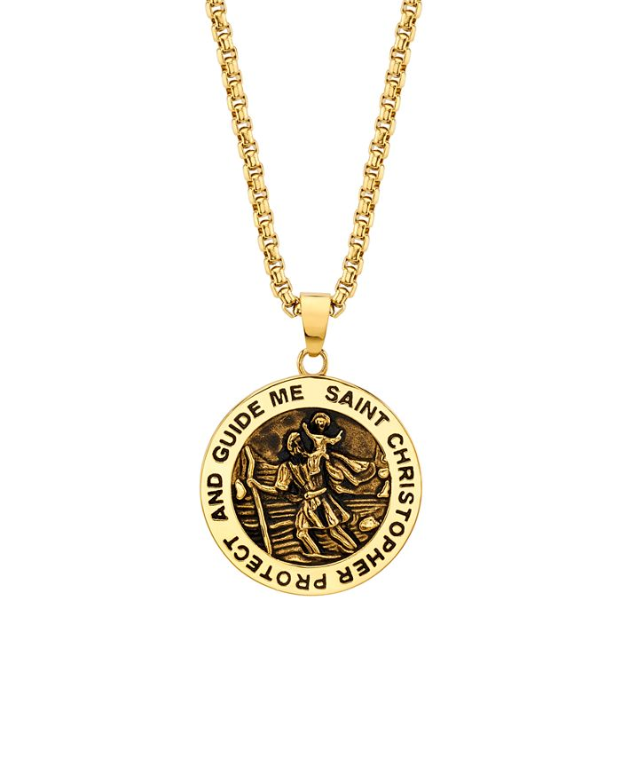 "He Rocks - ""Saint Christopher"" Coin 24"" Pendant Necklace in Gold-Tone Stainless Steel"