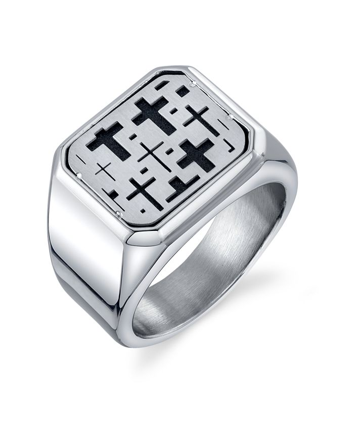 He Rocks - Square Cross Ring in Stainless Steel