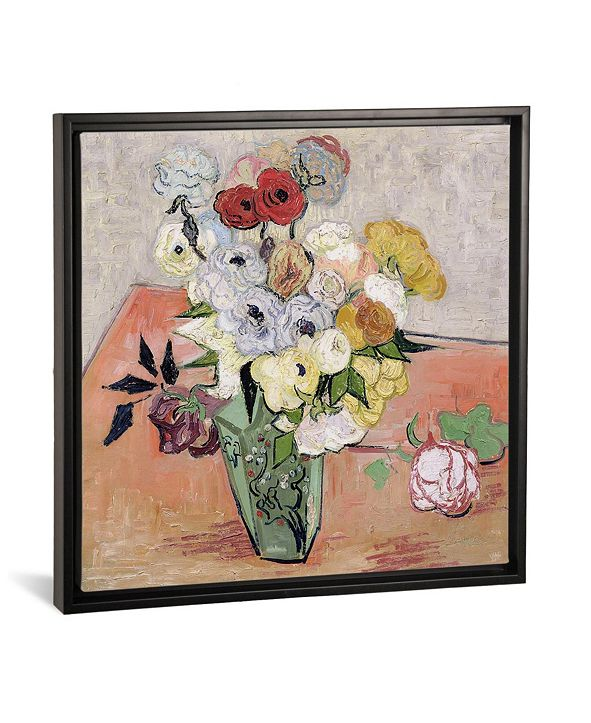 """iCanvas Japanese Vase with Roses and Anemones, 1890 by Vincent Van Gogh Gallery-Wrapped Canvas Print - 37"""" x 37"""" x 0.75"""""""