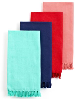 Fiesta Table Linens, Set of 4 Fringed Scarlet Napkins